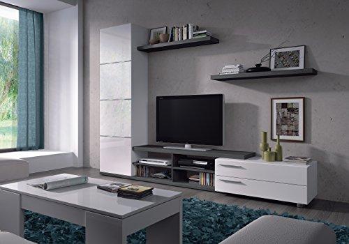Cordova Parete Attrezzata, Mobile Soggiorno TV con Mensole e Colonna, Parete Mobile TV in Legno, 240 x 41 x 33 cm, Bianco e Grigio Cenere