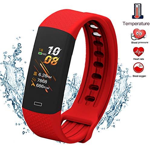 GWSPORT Pulsera Inteligente De Detección De Temperatura, Recordatorio Deportivo De Llamada A Prueba De Agua con Reloj Bluetooth Oxígeno En Sangre/Frecuencia Cardíaca,Rojo