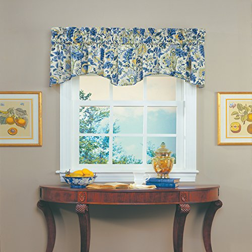 """WAVERLY Valances for Windows - Imperial Dress 80"""" x 18"""" Short Curtain Valance Small Window Curtains Bathroom, Living Room and Kitchens, Porcelain"""