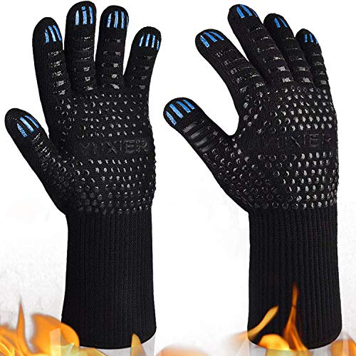 Yuxier Oven Gloves BBQ Grill Gloves 1472°F Extreme Heat Resistant Oven Mitts for Cooking, Grilling,...