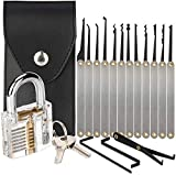 15-Piece Lock Pick Set with Transparent Training Padlock, Practice Locks for Lock Picking, Padlock Picking Tools Kit for Beginner and Locksmith Training