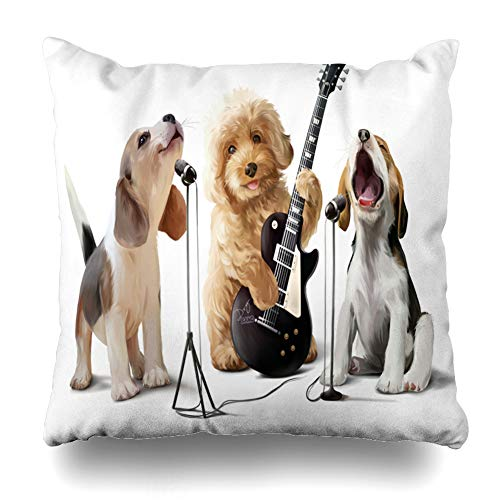 Pakaku - Funda de cojín decorativa para sofá o cama, 45,7 x 45,7 cm, diseño de tres perros con dibujo de acuarela