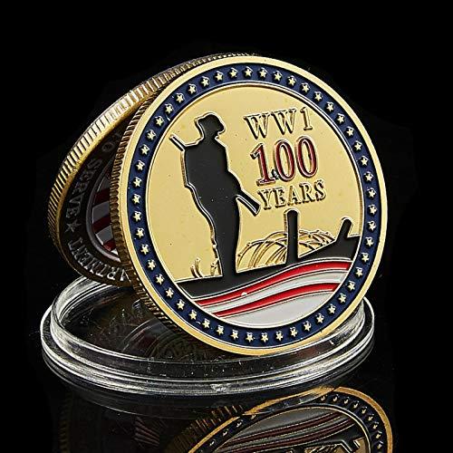 CJHYY 1918- Medalla del Gran Sello de los EE. UU, Chapado en Oro del 100 Aniversario del Desafío Mundial de la Primera Guerra Mundial