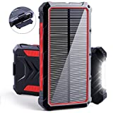 Solar Power Bank, 20000mAh Portable Solar Charger with Dual USB 3A Output Port/LED Light and External Battery Pack, Fast Charging for Smartphone