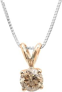 14K Gold Round Champagne Diamond Ladies Solitaire Pendant