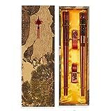 UNIFONE Essstäbchen, wiederverwendbar, chinesischer Stil, Holzdrache und Phönix, Essstäbchen, mit Halter und Tragetasche, chinesisches Geschenk-Set (2 Paar) - 7