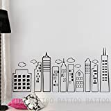 "BATTOO Kids Doodled City Skyline -Whimsical Wall Art Vinyl Decal for Kid's Rooms Play Rooms Bedrooms Schools Libraries(Black, 27"" h x58 w)"