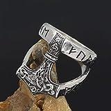 LRKZ Bague Viking en Acier Inoxydable pour Homme, Nordique Vintage Fait Main Odin Symbole Marteau de Thor Gothique Amulette Fait Main Bijoux avec Sac Cadeau,11