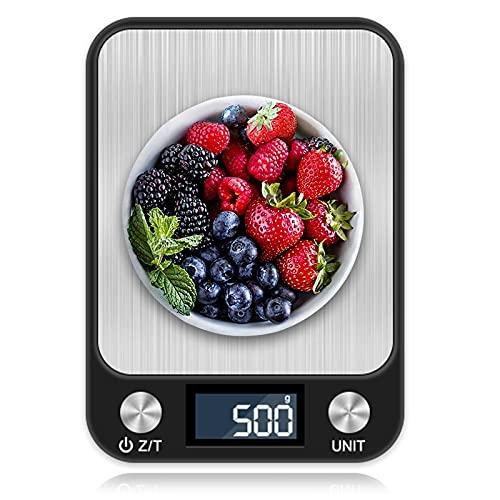 Bilancia da Cucina Digitale, otumixx 10kg/22lb Acciaio Inossidabile Bilancia Cucina 7 Unità di Conversione, Funzione Peeling, Spegnimento Automatico, Display LCD Precision Bilancia da Cucina - Nero