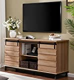 WAMPAT Sliding Barn Door Modern Farmhouse TV Stand with Storage, Wood Metal Media TV Console Cabinets Entertainment Center for TVs up to 65', Natural Oak