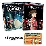 Hayao Miyazaki - Spirited Away & My Neighbor Totoro - 2 NEW DVD Studio Ghibli Classic Animated Movies Bundle + Bonus Art Card