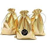 DUGYIRS 100 Pezzi Oro Sacchetti Regalo con Coulisse 13cmx18cm,Piccolo Sacchetti regalo Sacchetti per Gioielli Borse da Festa per Sacchetti Regalo di Natale Matrimonio Compleanno