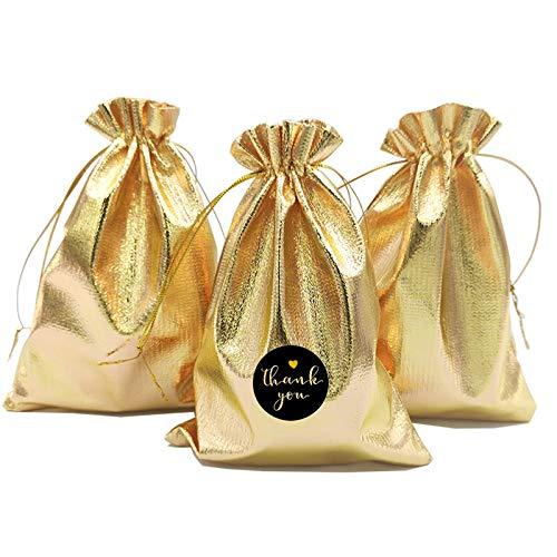 DUGYIRS 100 Piezas Oro Cordón Regalo Bolsas Partido Bolsas Joyas Caramelo Bolsa para Bodas Fiestas Celebración Tienda