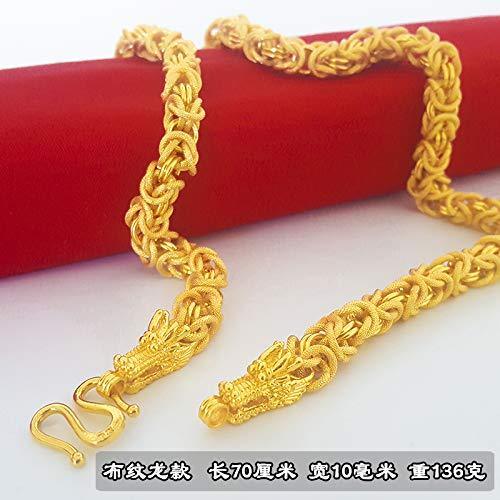 Sand-Gold-Halskette Männliche 24-Karätige Goldkette Dicke Goldkette Währung Perlen Führende Kette Für Eine Lange Zeit Nicht Verblassen Tuch Drachen - Länge 70Cm -136 G(Dickes Gold Handwerk)