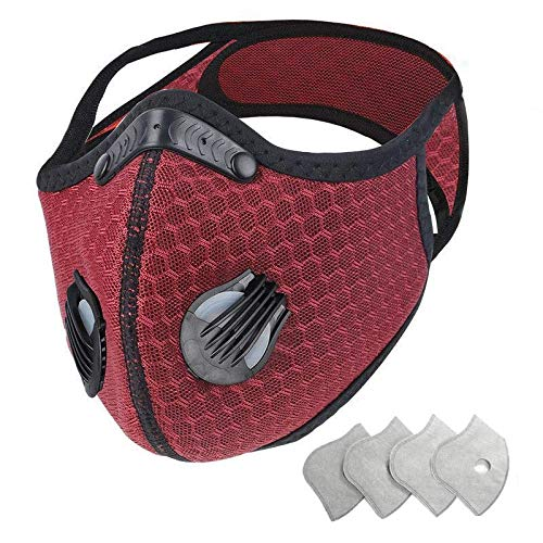 Jinlan1 with Filter,Sports Face,4Filters Included,Men's and Women's Universal,Suitable for Woodworking, Outdoor Activities(Red)