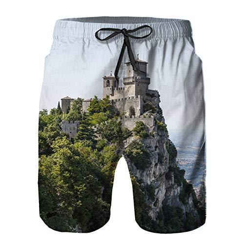 Blived Pantalones Cortos De Playa para Hombres,La Foto Muestra un Primer Plano del Antiguo Castillo de Piedra,Pantalones De Chándal De Secado Rápido, Bañador De Verano para Ejercicios Al Aire Libre S