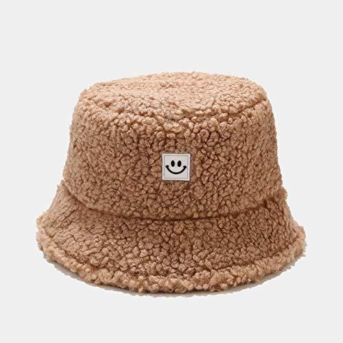 Moda Hombres Mujeres cálido Sombrero de Cubo Nueva Cara de Sonrisa Vintage Otoño Invierno Sombrero al Aire Libre Gorra señoras de Lana Suave Sombreros de Pescadores 6 Colores-Khaki