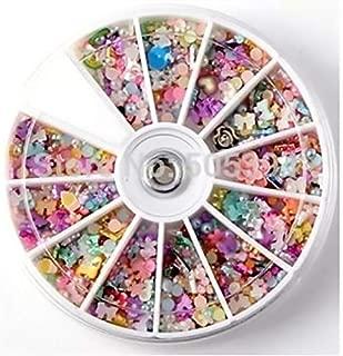 1200 pcs Wheel Mixed Nail Art Tips Glitters Rhinestones Slice Decoration Manicure