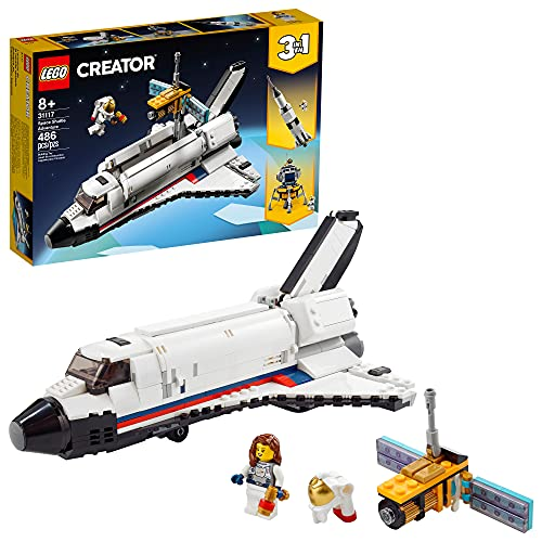 LEGO Creator 3in1 Space Shuttle Adventure 31117 Building Kit; Cool Toys for Kids Who Love Rockets and Creative Fun; New 2021 (486 Pieces)