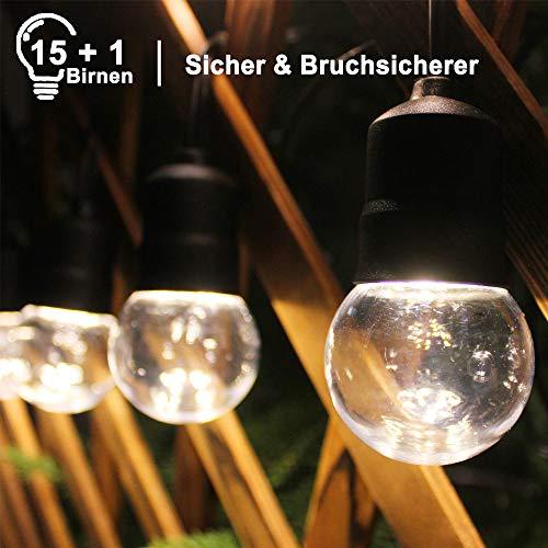 LED Lichterkette Außen, 8.6m Lichterkette Glühbirne Aussen mit 15 E27 Warmweiß Birnen, Wasserdichte, Außen & Innen Beleuchtung, Für Weihnachten Ostern Hochzeit Party Zimmer Garten Terrasse