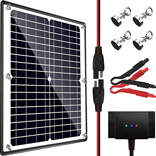 POWOXI Solar Panel, 12V 20W Magnetic Solar Battery Charger Maintainer, Bult-in Intelligent Charge Controller, Waterproof Solar Trickle Charger Alligator Clip for Car RV Motorcycle Marine, etc.