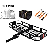 TITIMO 60'x21'x6' Folding Hitch Mount Cargo Carrier - Luggage Basket Rack Fits 2' Receiver - Rear Cargo Rack for SUV, Truck, Car(Includes Cargo Net, Ratchet Straps, Waterproof Cover) - 550LB Capacity