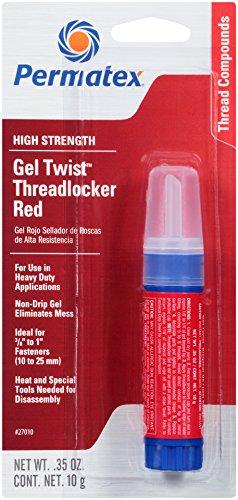 Permatex 27010 High Strength Threadlocker Red Gel Twist, 10 g