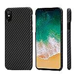 「PITAKA」MagEZ Case iPhone Xケース対応 スマホケース 軍用防弾チョッキ素材アラミド繊維 超薄(0.85mm) 超軽量(14g) 超頑丈 耐衝撃 高耐久性 スリム 薄型 ワイヤレス充電対応 (黒/グレ-ツイル柄)
