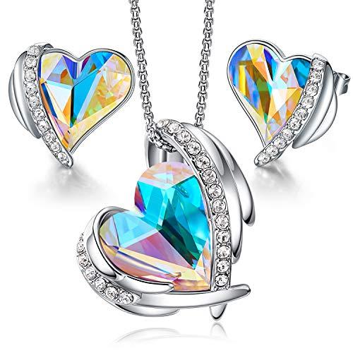CDE Juegos de Joyas Mujer Collar y Pendientes Corazón Adornado de Alas de Ángel con Caja para San Valentín Aniversario