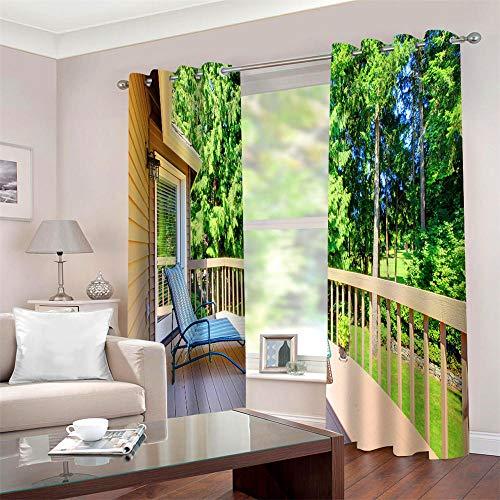 Cortinas Infantiles Modernos Sillón reclinable Paisaje Cortinas Opacas de Salon 3D Aislantes Térmicas Cortina para Dormitorio Habitación Decorativo 2X 140 x 245 cm