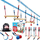Double Ninja Slackline Obstacle Course for Kids 35 Foot Course - Monkey Bars Playground Equipment - Ninja Warrior Course with Monkey Bars for Kids - Ninja Ropes Course - Patented Double Line Design