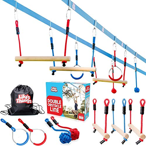 Double Ninja Slackline Obstacle Course for Kids - 80 Foot Line - Monkey Bars Playground Equipment - Ninja Warrior Course with Monkey Bars for Kids - Ninja Ropes Course - Patented Double Line Design