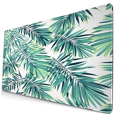 Nettes Mauspad ,Tropische Pflanzen Cartoon Palmen Bananenblätter,Rechteckiges rutschfestes Gummi-Mauspad für den Desktop, Gamer-Schreibtischmatte, 15,8