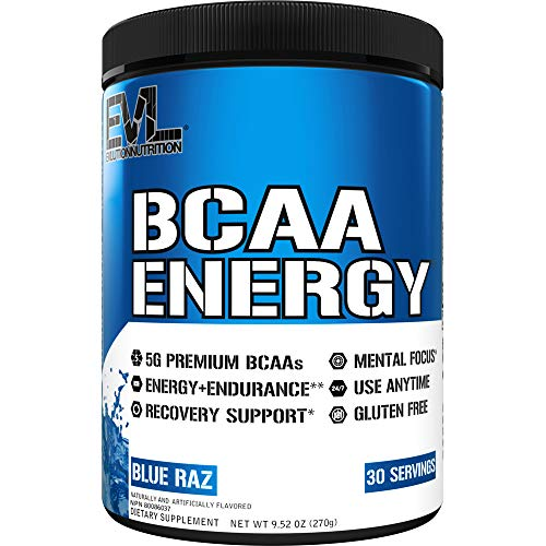 Evlution Nutrition BCAA Energy - Essential BCAA Amino Acids, Vitamin C & Natural Energizers for Performance, Immune Support, Muscle Building, Recovery, B Vitamins, Pre Workout, 30 Serve, Blue Raz