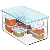 """mDesign Storage Organizer Bin Box with Lid, Handles for Kid Supplies in Kitchen, Pantry, Nursery, Bedroom, Playroom - Holds Snacks, Bottles, Baby Food, Diapers, Wipes, Toys - 10"""" Long - Clear/Sea Blue"""