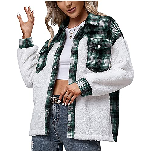 Green/Brown Plaid Coat for Women Fleece Button Down Pockets Color Block Tops Trendy Winter Warm Comfy Loose Grinding Wool Plush Long Sleeve Open Front Cardigan Jacket Shirt (Green,X-Large)