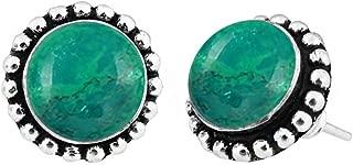 Natural Gemstones 925 Silver Overlay handmade Stud Earrings