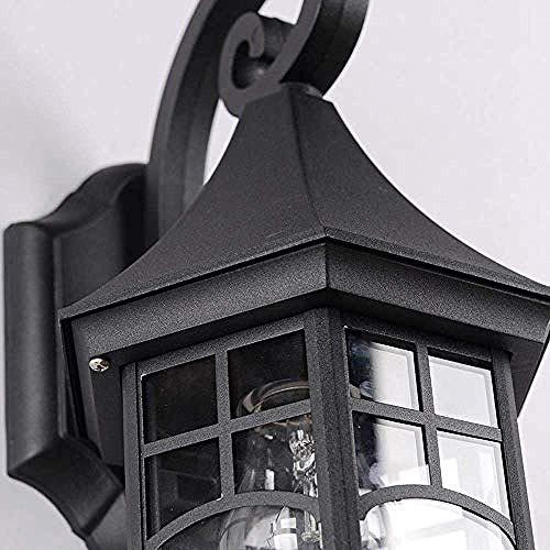 Antike Außenwandleuchte aus Glas für Außendekoration, Insel Säule Deck Retro E27-Schwarz, Verschiedene Wandlampen