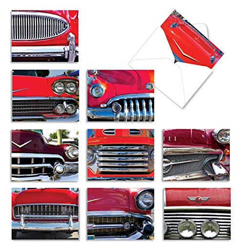 10 Assorted 'Car and Grille' Greeting Cards with Envelopes 4 x 5.12 inch - Set of 10 Thank You Cards Featuring Red Car and Grille for Any Occasion M2120