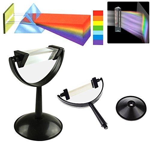 GOZAR 8Cm Optisches Glas Dreieck Dreieckige Prisma Physik Lehre Lichtspektrum Mit Standfuß