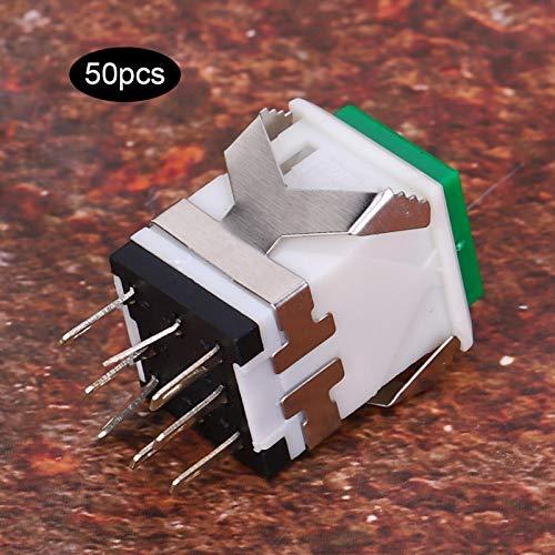 Interruptor de botón Plástico de ingeniería verde anticorrosivo momentáneo para circuitos de control industrial(24V, Pisa Leaning Tower Type)