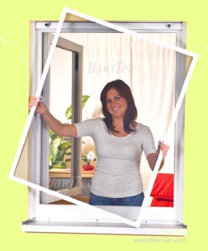 easy life Insektenschutz Fenster greenLINE 100 x 120 cm in Weiß Fliegengitter mit ALU Rahmen Insektenfenster ohne Bohren individuell kürzbares Fliegennetz