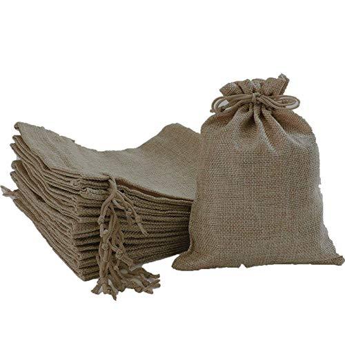 24 Pcs Bolsas de Lino y Cáñamo con Cordón Bolsas de Regalo para Comida Joyas Abalorios Bolsa de Lino para Fiesta Matrimonio Boda Decoracion 13x 18cm
