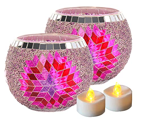 Votive Candle Holder Centerpiece, Mosaic Glass Tealight Holders for Home Decor, Table, Party Decorations, Handmade Gifts for Her, Vase for Potted Plants Bowl, Set of 2 (Rose Red Flower x 2)