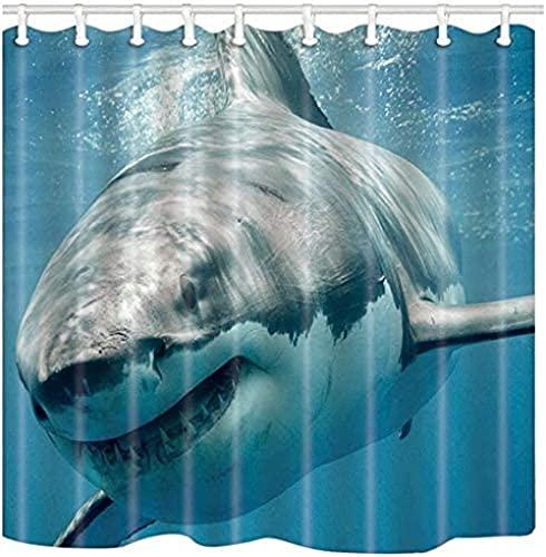 Meerestier Hai Kiefer Zähne Kenessness Predator Muster Badezimmer Dekoration Duschvorhang Wasserdichter Duschvorhang aus Polyestergewebe