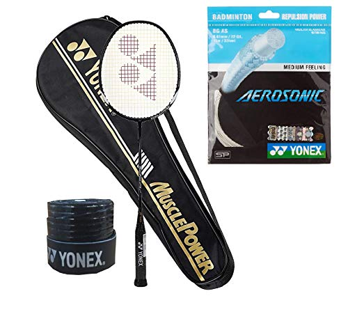 Yonex Muscle Power 29 Badminton Racquet (G4-88g) & Full Cover with Aerosonic Microfiber String 1Grip