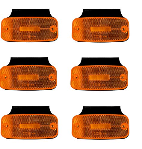 6x 12/24V LED Umrissleuchten mit Halterung Begrenzungsleuchten E9 Prüfezeichen Orange Positionsleuchten LKW Anhänger Träger Wohnwagen