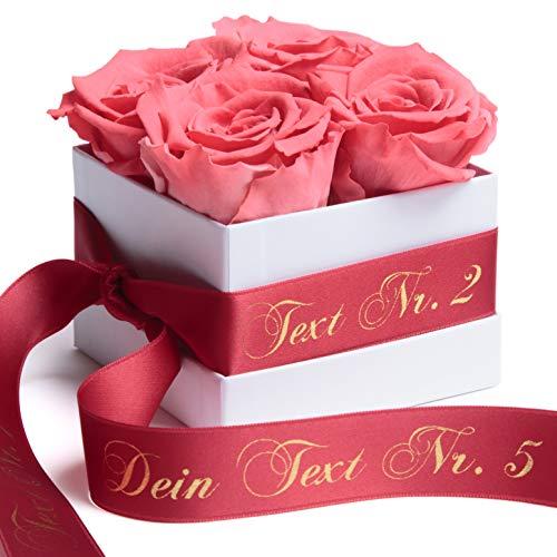 ROSEMARIE SCHULZ Heidelberg Rosenbox mit Infinity Rosen und persönlicher Widmung - konservierte haltbare Blumen Valentinstag für Frauen (Spezialtext, Korall-Rot)