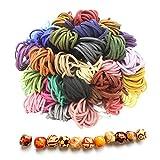 Runfa 1m*3mm*60 Farbe Lederband Wildleder Schnur String mit Holzperlen Leder Kordel Schnur Faden...