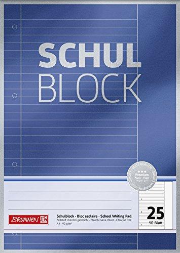 Brunnen 1052625 Schulblock / Notizblock Premium (A4, 50 Blatt, liniert, mit Rand, Lineatur 25, gelocht, kopfverleimt, 90 g/m²)